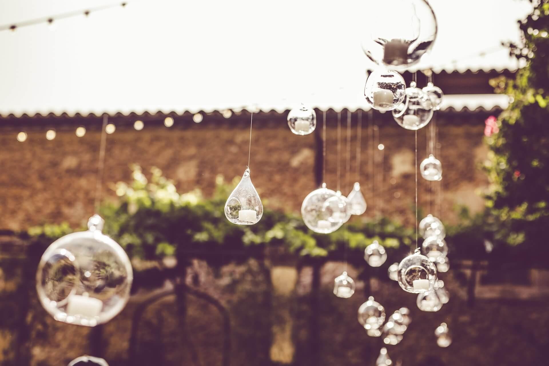 Esferas de Cristal colgante con velas decoración