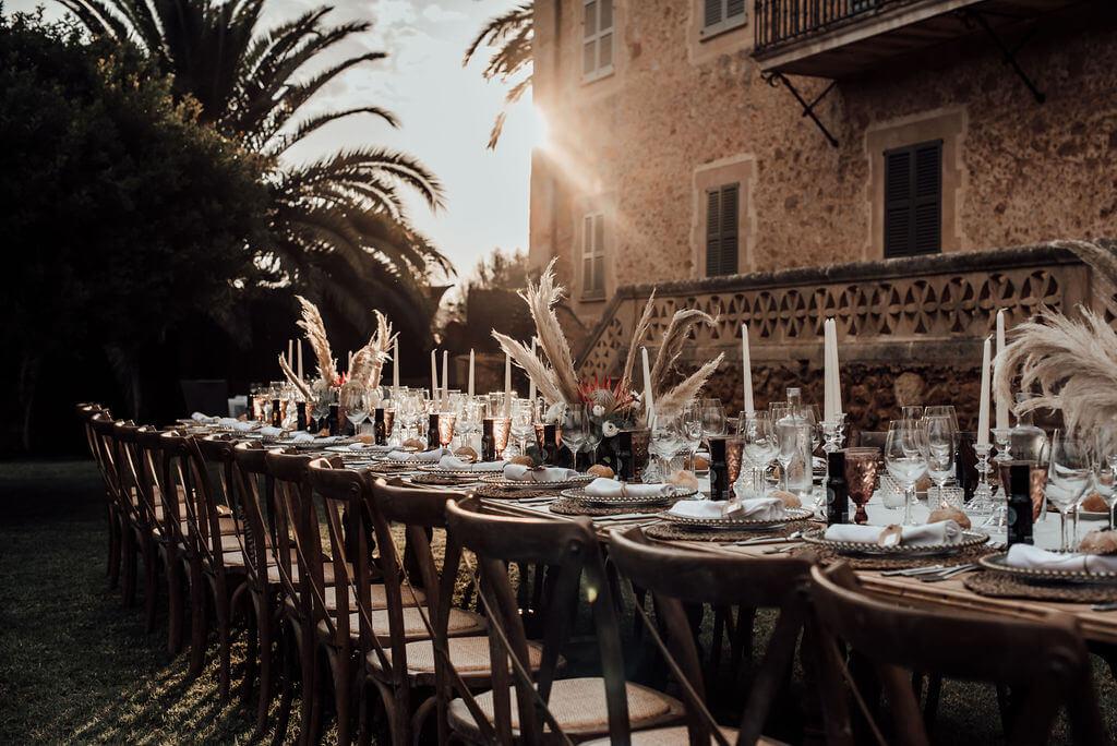 banquete boho centros de mesa